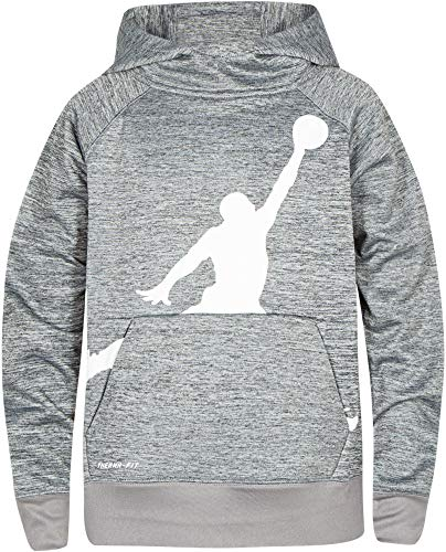 Jordan Boy's Performance Pullover Hoodie (L, Dark Heather Grey)