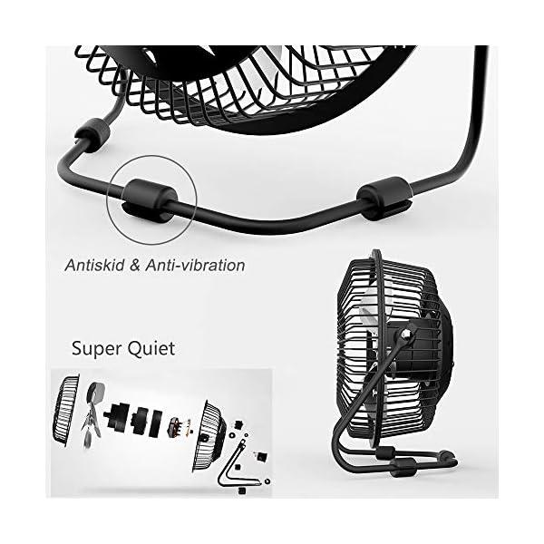 KAISHANE-Ventilador-de-Escritorio-con-USB-Mini-Ventilador-de-sobremesa-de-refrigeracin-4-Pulgadas-Cuchillas-de-Metal-para-PC-Ordenador-Porttil-con-360-Grados-de-rotacin-y-ngulo