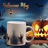 SHSHSH, tazza di Halloween con stampa a mano sanguinosa di Halloween, giochi di Halloween, tazza divertente da tè, tazza da caffè che cambia colore, tazza con stampa a mano, tazza che cambia calore