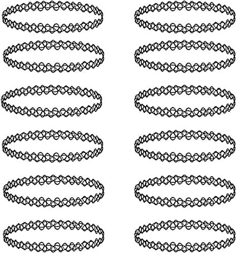 12PCS Collares de plástico de belleza Collar de mujer, Gargantilla de tatuaje, Gargantilla negra elástica, Conjunto de collar gótico, Cadena de clavícula en encaje(Negro)
