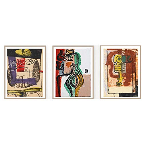 Le Corbusier Lienzo Imprimir Pintura Vintage Cubismo Arte Poster Le Corbusier Cubista Cuadro Abstracto LíNea Pared Arte Salon Sala Decoracion 40x50cmx3 No Marco