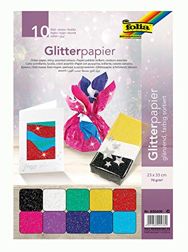 folia 830409 - Glitterpapier, 70 g/qm, 10 Blatt, ca. 23 x 33 cm, sortiert in 10 verschiedenen Farben