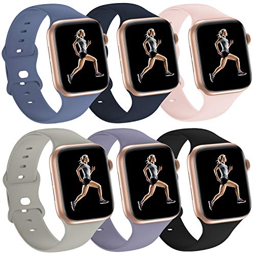 6 Pack Silicone Sport Bands Compatible with Apple Watch Band 38mm 40mm 42mm 44mm,Replacement Strap Wristband for iWatch Series 6/5/4/3/2/1 Women & Men (Iceocean Blue/Stone/Black/Lavender Gray/Pink Sand/Midnight Blue, 38mm 40mm)