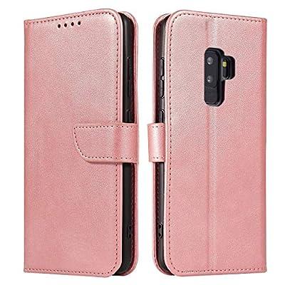 ANCASE Funda de Cuero Compatible con Samsung Galaxy S9 Oro Rosa con Tapa Libro PU Case Cover Completa Protectora Funda para Teléfono Piel Tarjetero Modelo