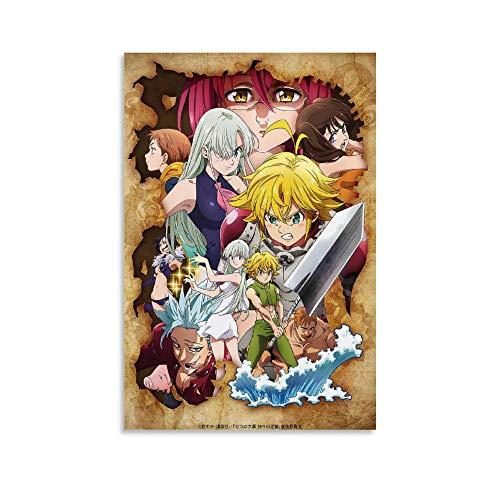 WERTQ Póster de Siete Pecados Capitales Anime para decoración de pared en lienzo para salón o dormitorio, 40 x 60 cm
