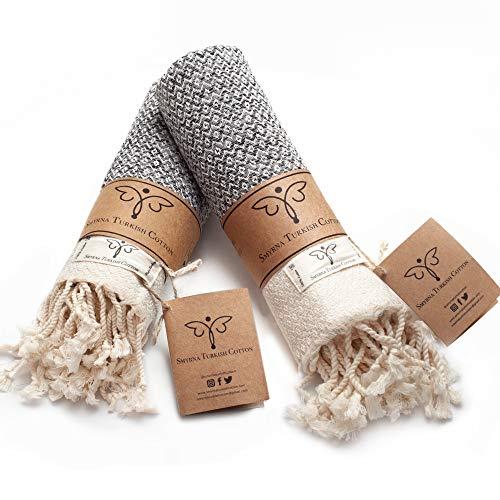 Smyrna Original Turkish Hand Towels Set of 2   100% Cotton, 16 x 40 Inches   Decorative Bathroom Peshtemal Towel for Hand, Face, Hair, Gym, Yoga, Tea, Dishcloth, Kitchen and Bath (Gray)