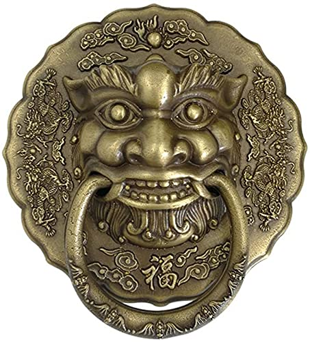 JJDSN Classical Lions Door Knocker, Brass Front Door Knocker, Gate Knocker for Visitors to Your Home, Antique Bronze Finish Home Decoration