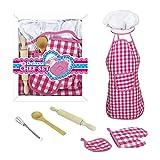 11 tlg. Küchenhelfer Nudelholz Topflappen Schürze Küche Zubehör für Kinder