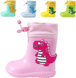 Botas de Agua para Niños y Niñas con Cordón Ajustable en el Cuello, Botas de Lluvia Caucho Goma de Dinosaurio Impermeable ...