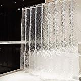 YIQI Duschvorhang für das Bad, klarer 3D-Wasserwürfel, wasserdicht, waschbar, schimmelpilzfrei, mit 12 Ösen & Kunststoffhaken, für die Dusche oder Badewanne zu Hause (180 x 180 cm)