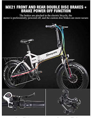 51GIQdQJ zL - Shengmilo MX21 eBike Elektrofahrrad 20 Zoll e-Bike Mountainbike Klappbar Electric Fahrrad ebike Herren Damen 4.0 Fetter Reifen 500W bürstenlosem Moto 48V Lithium Batterie