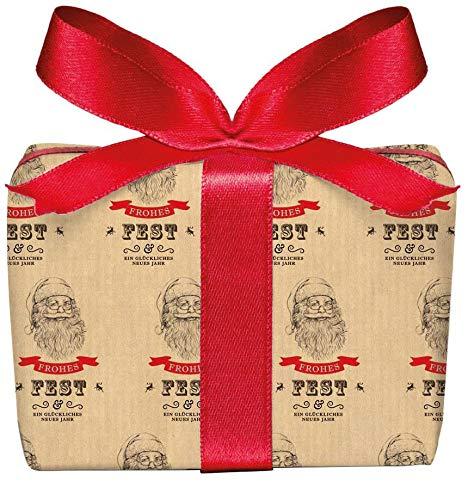 3er Set Weihnachts Geschenkpapier Bögen Weihnachtsmann Nikolaus im Vintage Packpapier Look zu Weihnachten, Adventszeit, Weihnachtspapier für Weihnachtsgeschenke Format 50 x 70 cm