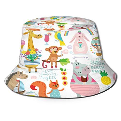 Unisex Bucket Sun Hats Animals Hand Drawn Style Summer Set Fashion Summer Outdoor Travel Beach Fisherman Cap