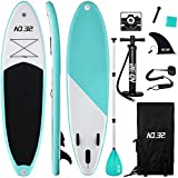 NO. 32 10ft / 3m Inflatable Stand Up Paddle Board | Inflatable SUP Board Beginner's Surfboard Kit w/Adjustable Paddle | Air Pump w/Pressure Guage | Repair Kit | Premium Leash & Carry Backpack (Green)