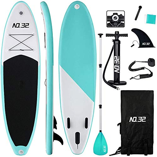 Tabla Hinchable de Paddle Surf + SUP Paddle Remo de Ajustable | Bomba | Mochila | Aleta Central Desprendible | Kit de Reparación | Vela de Viento y Surf Leash(300*76*15cm Grosor, Carga Hasta: 350kg)