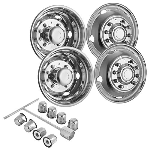 "Mophorn 4 PCS of Wheel Simulators 19.5 Inch 10 Lug Hubcap Kit Fit for 2005-2017 Ford F450 - F550 2WD Trunk Polished Stainless Steel Bolt On Dually Wheel Cover Set (19.5"")"
