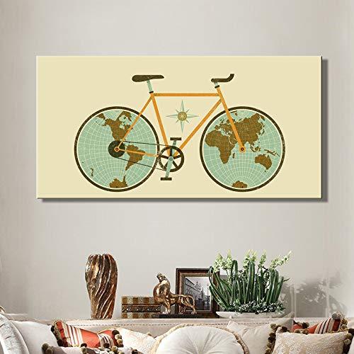 tzxdbh Fiets wiel poster en replica op wereldkaart, muur kunst abstract schilderij op doek, decoratieve schilderij voor woonkamer decoratie 40x80cm Frameloos