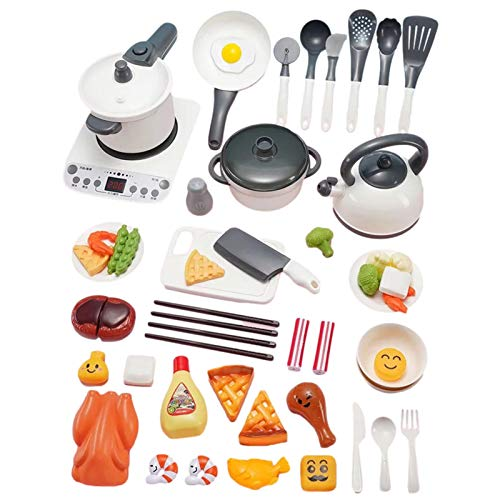 Kids Kitchen Pretend Play Toys, Simulating Play Cooking Set with Pots and Pans,cookware,vegetables,fruits and Other Utensils Accessories, Gift for Toddles Infant Boys Girls