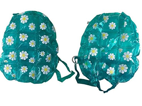 PVC Inflatable Back Pack Bubble Bag Daisy Bag with Flower Decorations (Green)