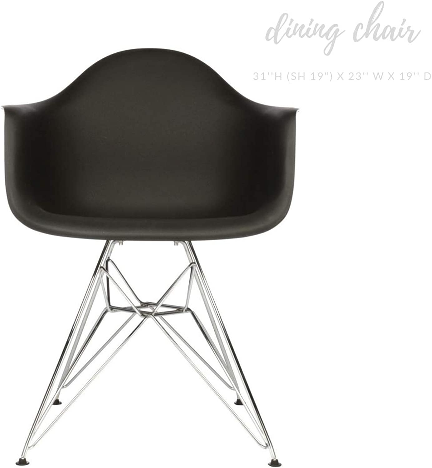 Take Me Home Furniture Eiffel Style Bucket Chair with Chrome Legs, Black, Dining Chair