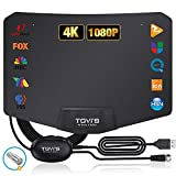 TV Digital Antenna,TGVi's Amplified HDTV Indoor Digital Portable Antenna with 120 Miles Range,Newest Powerful Amplifier Signal Booster Support 4K 1080P Fire Stick UHF VHF Free HDTV Channels,14ft Cable