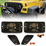 USR DEPO Side Marker Lights - 4 Pieces COMBO Smoke Lens Bumper Turn Signal Lamps + Fender Side Markers Set Compatible with 1997-2006 Wrangler TJ Chassis (Smoked, Comes with 4 Amber Bulbs)