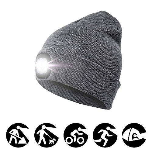 enjoydeal 4LED Knit Hat Rechargeable Hands Free Headlamp Cap for Hunting,Camping,Grilling Running,Gray