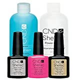 CND Shellac Hot Pop Pink original CND plus plus Capa Base Coat 7,3 ml más CND Scrub Fresh removedor de más de 236 ml, 1 paquete (1 x 0,494 l)