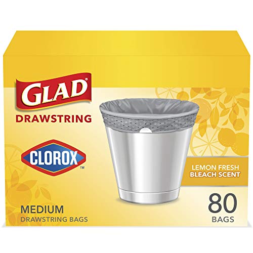 Glad Medium Drawstring Trash Bags with Clorox, 8 Gallon Grey Trash Bags, Lemon Fresh Bleach Scent, (Package May Vary), Lemon, 80 Count
