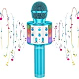 CYY Karaoke Wireless Microphone Toys for Kids,Bluetooth Portable Handheld Microphone Speaker with LED Lights,Gifts for Birthday Party,Outdoor Activity,Festivals of Boys,Girls,Adults(Blue)
