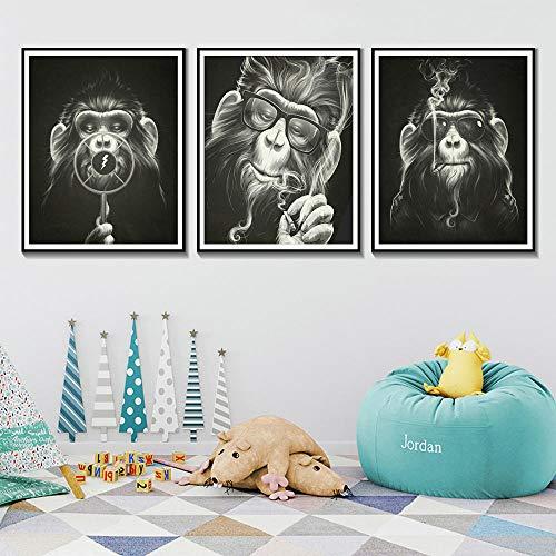 Zwart-wit dier poster aap roken met bril Wall Art posters en prints slechte aap canvas schilderij / 30x40cmx3pcs geen frame