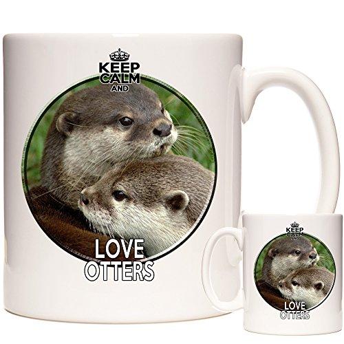 Otter Tasse Keep Calm and Love Otters Exklusiv von KazMugz. Keramik-Geschenk-Tasse. Ausgezeichnetes Geburtstagsgeschenk. Passender Untersetzer und Schlüsselanhänger erhältlich.