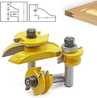 NOBGP 3Pcs 1/4'' Shank Rail Stile Ogee Blade Cutter Raised Panel Bit Cabinet Router Bits Set 3 Teeth T Shape Wood Door Flooring Wood Milling Cutter Woodworking Tool