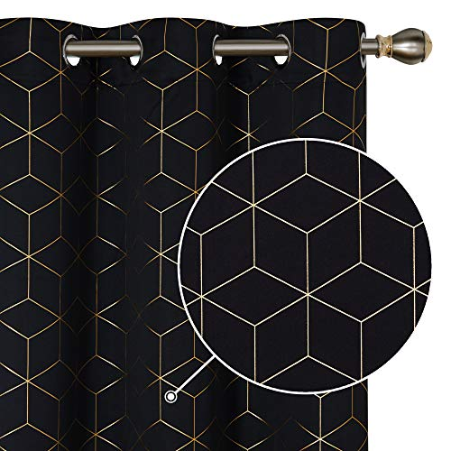 Deconovo Blackout Curtains Gold Diamond Foil Print Room Darkening Thermal Insulated Sun Blocking Grommet Curtain Panels for Living Room Black 42W x 95L Inch 2 Panels