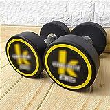 Fitness Equipment Barbell Nueva mancuerna establece todo propósito en par, o se establece con estante, goma de goma de goma de goma de lujo de lujo manija de acero deluxe (tamaño: 33lb / 15kg × 2)