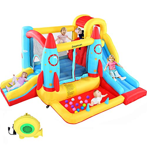 DREAMVAN Inflatable Bounce House, Kids Party Jumping Castle with Blower, Double Slide, Climbing Wall and Ball Pit, Outdoor Inflatable Jumper Bounce House Big Play Center, Ages 3-12 Years