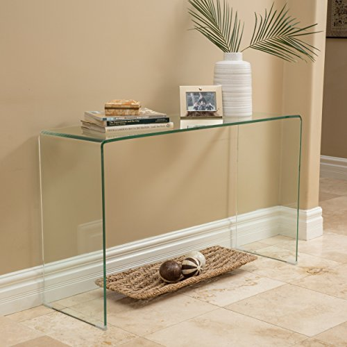 Christopher Knight Home Cadyn 12mm Tempered Glass Console Table, Clear