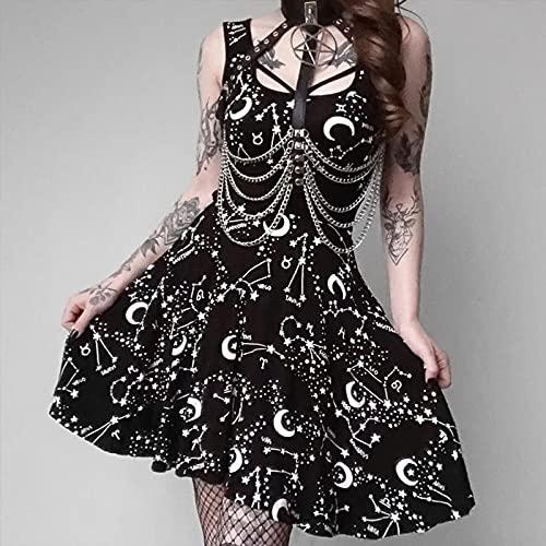 Vestidos de mujer Sexy Sin Mangas Vestido Gótico Negro Verano Casual Dama...