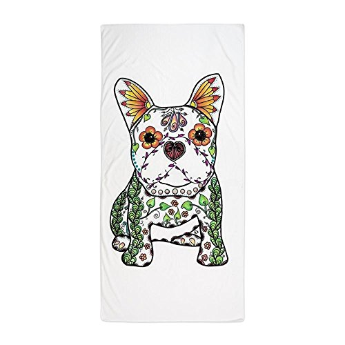 CafePress Sugar Skull Frenchie Large Beach Towel, Soft Towel with Unique Design
