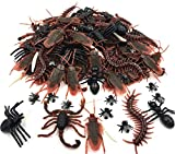 150pcs Realistic Bugs Plastic Fake Bug Trick Toys Insects Halloween Prank Toy Bugs Cockroaches Spiders Worms Centipedes Scorpions for Halloween Decorations Party Favors Gift Kids Toddlers