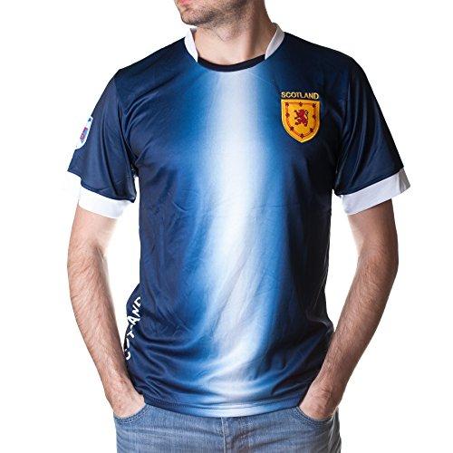 Football Nations Men's Scottish Polyester Sport Jersey / T-Shirt - NAVY/WHITE - XXL