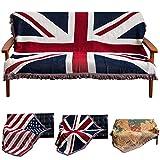 Haokaini Vereinigte Königreich Flagge Decken Bett Sofa Couch Abdeckung Baumwolle Strick Stuhl Decke mit Quasten Tagesdecke Sofabezug Patriotisch für Hausdekor 130X180cm