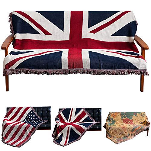 Haokaini Reino Unido Bandera Mantas Cama Sofá Sofá Cubierta Algodón Tejido Tiro Silla Manta con Borlas Colcha Sofá Cubierta Patriótica para Decoración de La Casa 130X180cm