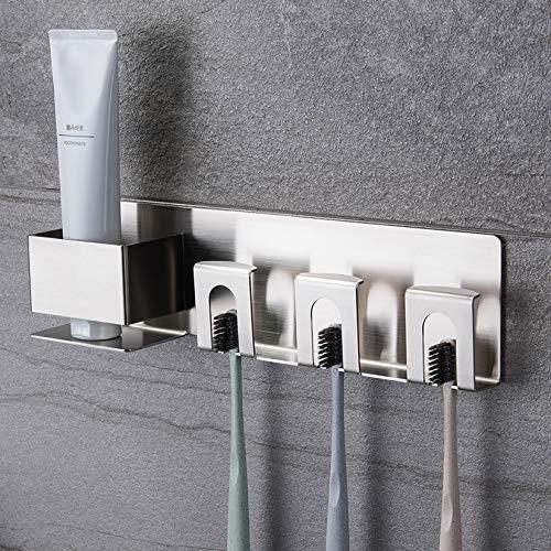 ZUNTO Zahnbürstenhalter Ohne Bohren - Selbstklebend Zahnpastahalter Zahnbecherhalter Edelstahl für Bad (3 Löcher)