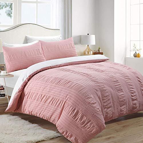 Nimsay Home Serina 100% Cotton Seersucker Duvet Cover Bedding Set (Pink, Double)