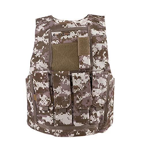 FOLOSAFENAR Chaleco de Camuflaje para niños Resistente al Desgaste de Hombro Ajustable Chaleco Militar para niños, para Cazar, para niños(Desert Camouflage)