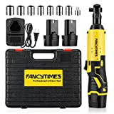 Cordless Electric Ratchet Wrench, 3/8' 12V 40 Ft-lbs Powerful Ratchet Wrench Set with 7 Different Sizes Sockets / 1/4 Adaptor / 2 Packs 2000mAh Lithium-Ion Battery & Charger (Yellow)