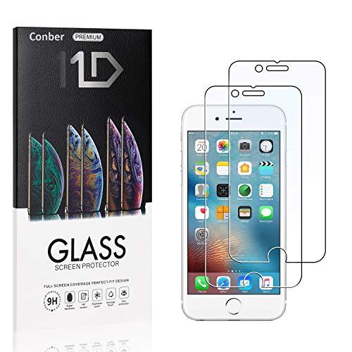[2 Stück] Conber Panzerglas Schutzfolie für iPhone SE 2020 / iPhone SE 2nd Generation, [9H Festigkeit][Anti-Kratzen][Anti-Öl] Panzerglasfolie Bildschirmschutz für iPhone SE 2020 / iPhone SE 2nd Generation