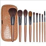 M-Y-L 9 de Maquillaje Sistemas de Cepillo con Mango de Madera marrón Herramientas de Belleza brocha de Maquillaje de Almacenamiento de Cinta