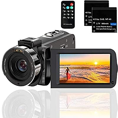 Video Camera Camcorder Full HD 1080P 36MP 30FPS Digital YouTube Vlogging Camera Video Recorder with Night Vision 3.0 Inch 270 Degree Rotation IPS Screen 16X Zoom Remote Control, 2 Batteries from Actitop